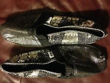 Womens BKE SOLE Black & Silver Sequins Shoes Sz 8 Med