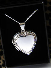 LARGE PLAIN ROPE LOCKET HEART NECKLACE PENDANT STERLING SILVER 925 CHAIN BOX