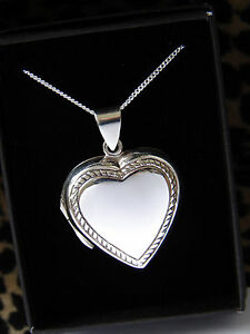 LARGE PLAIN ROPE HEART LOCKET NECKLACE STERLING SILVER 925 LOCKET + CHAIN BOX