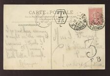POSTAGE DUE 1905 FRANCE T15 + GB 3d...PPC PLACE CONCORDE