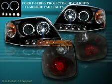 2001-03 FORD F-150 FLARESIDE TWO HALO LED PROJECTOR HEADLIGHTS+TAIL LIGHTS SMOKE