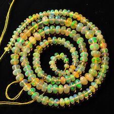"""3mm-5.6mm Fine Ethiopian Welo Opal Smooth Rondelle Beads 16"""" Strand"""