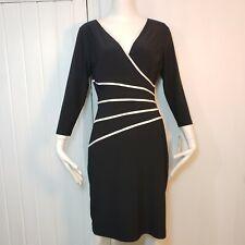 Ralph Lauren Faux Wrap 3/4 Sleeve Dress Black Women's Size 10 Classic