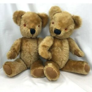 """2 Vintage Mohair Teddy Bears (5) Jointed 17"""" Chad Valley Ltd."""