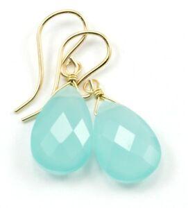 Light Aqua Blue Chalcedony Earrings Faceted Teardrop 14k Gold Sterling Silver