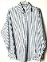 Banana Republic Mens Large Blue/White Striped Long Sleeve Button Front Shirt
