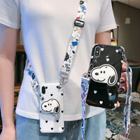 For iPhone 11 Pro Max 7 8+ Cute cartoon Snoopy Case Cover & Stand Holder & Strap