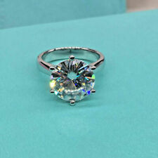 Ring in Solid 14k White Gold 3.10Ct Solitaire White Round Diamond Engagement