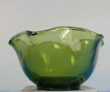 "Vtg Indiana Glass Green 5"" Wave Rim Salad Candy Nut Bowl"