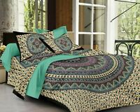 Indian Mandala Cotton King Size Jaipuri Double Bed Sheet With 2 Pillow Covers,