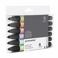 Winsor & Newton Promarker Twin Tip Graphic Markers 6 Pastel Tones Set
