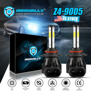 4 Sides 9005 HB3 LED Headlight Bulb Kit High Beam 6000K Super Bright White Light