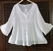 1X WHITE Peasant Airy Flowy Tunic Top Lace Crochet Boho Bell Ruffle SLEEVES (2X)
