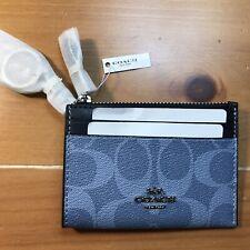NEW! COACH Mini Skinny ID Card Case Wallet Light Denim Print Silver Ring Key