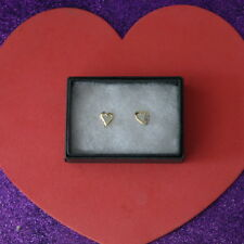 BEAUTIFUL 9 CT YELLOW GOLD ROUND NATURAL DIAMOND EARRINGS 1 CM. WIDE IN GIFT BOX