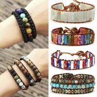 Chakra Natural Stone Tube Beads Bracelet Handmade Rope Wrap Bangle Jewelry Gifts