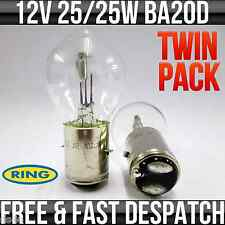 12V 25/25W BA20D HEADLIGHT / HEADLAMP BOSCH STYLE FITTING BULB R394 TWIN PACK
