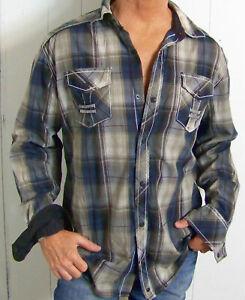mens - BUCKLE BLACK shirt - XL - ATHLETIC FIT - PLAID - ACCENT STITCH  Flip Cuff