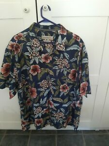 Tommy Bahama Short Sleeved Floral Hawaiian Silk Shirt - Size XXL Free Postage