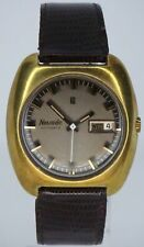 Vintage 1970's Nivada Automatic Gold Tone Watch W/ Date