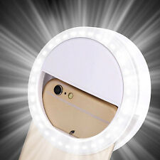 New Selfie LED Ring Flash Fill Light Clip Camera For Phone iPhone Samsung HTC UK