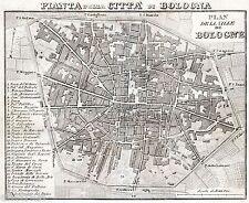 Pianta di Bologna.Carta Topografica,Geografica.Ronchi.Acciaio.Stampa Antica.1860