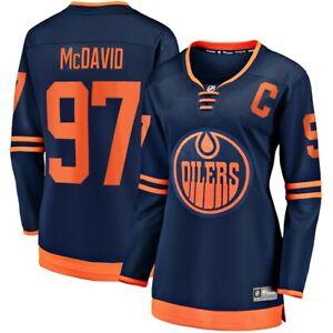 Women's Edmonton Oilers Connor McDavid Navy Orange Breakaway NHL Hockey Jersey