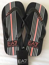 EMPORIO ARMANI EA7 Black/Stripe Embossed Logo Thong Flip Flops Sizes 6-10.5