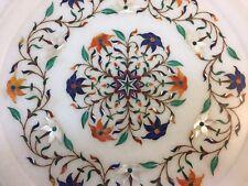 "Vintage 11"" Marble Round Plate Lapis + Mosaic Inlay India"