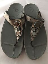 FitFlop Lunetta Womens Thong Sandals, Crackle Pewter Leather,  Size 11, $100