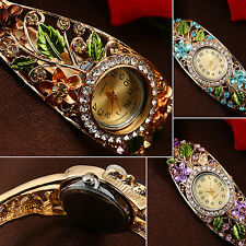 Women's Lady Crystal Colored Flower Bangle Bracelet Watch Analog Quartz Novelty