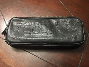 Fossil Brand Pencil/ Pen/ Charger etc. Leather Travel Zipper Case