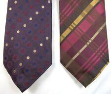 Allea Milano Silk Ties Purple Red Blue Brown Pink Circles Plaid Set Of 2 Italy
