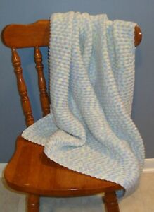 Pastel Blue, Yellow, Aqua & Lilac Baby Afghan / Blanket -  Beautiful Colors!