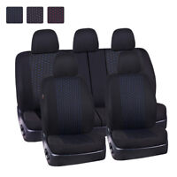 Universal Car Seat Covers 11pcs Black Blue Dot Jacquard For Sedan Hatchback SUV