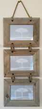 Chic Shabby Rustic Natural Wooden Triple Three Multi 3 Hanging Photo Frame 6x4""