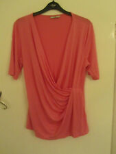 Pink Very Low V Neck Hip Length Short Sleeve Stretchy Top in Size 16