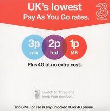 Three UK Prepaid SIM Card with £25 Credit. 30GB data, 3k texts, 3k mins.