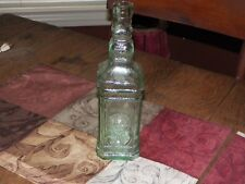 """10"""" Tint of Green Glass Bottle with Bubbles throughout  Made in Spain"""