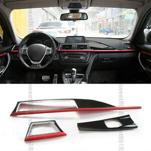 3pc Red Center Control Air Panel Trim Cover For BMW 3 4 3GT Series F30 F46 13-18