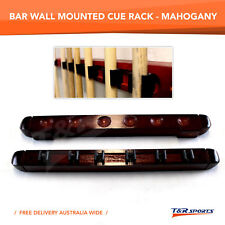 NEW! 6 CUES CLIP WOODEN SNOOKER POOL CUE RACK WALL MOUNTED MAHOGANY