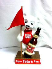 Fehrs beer sign chalkware statue bear figure chalk bar bottle display flag GW3