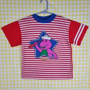 Vintage Barney 1992 Lyons Group Red / White / Blue Striped T-Shirt Child's 6X