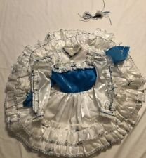 Vintage Girl Baby Toddler Dress Lace Blue White Pageant Ruffles Satin Gorgeous