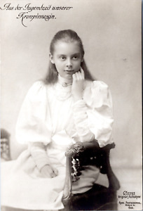 Aus der Jugendzeit unserer Kronprinzessin Vintage silver print on carte postale