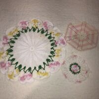 "Lot of 3 Vintage Hand Crocheted Doilies 12"" 3D Pansies + 2 Pink Hanging Rounds"