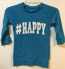 Justice 7 Sweatshirt Thin Blue 3/4 Sleeve Blue #Happy Glitter Letters