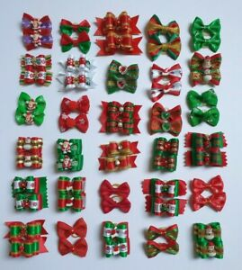 Christmas Dog & Puppy Pair of Hair Bands Top Knot Grooming Bows Xmas Themed