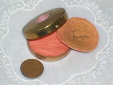 Vintage Tiny TANGEE ROUGE powder COMPACT & PUFF 1940s LUFT Pink Small old round