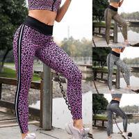 Women High Waist Yoga Leopard Print Legging Running Sports Pants Trouser Pants